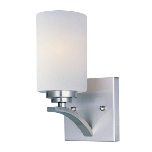 Maxim Lighting Modern Sconce Wall Light with White Glass in Satin Nickel Finish 20030SWSN