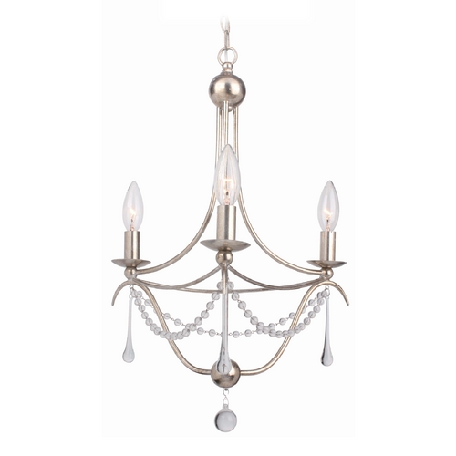 Crystorama Lighting Crystal Chandelier in Antique Sliver Finish 423-SA
