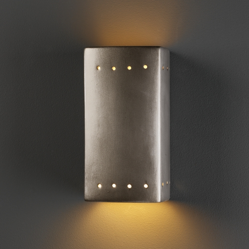 Justice Design Group Sconce Wall Light in Antique Silver Finish CER-0925-ANTS