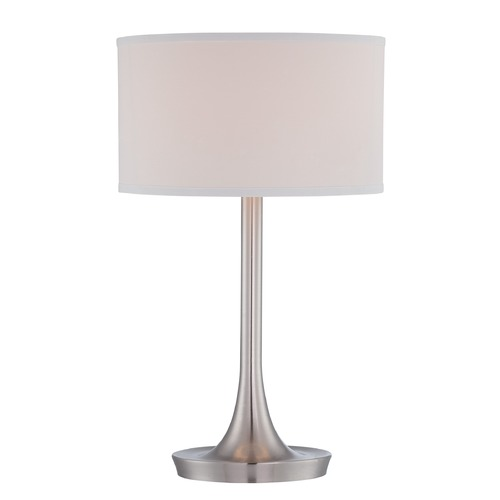 Lite Source Lighting Lite Source Baha Polished Steel Table Lamp with Drum Shade LS-22655PS