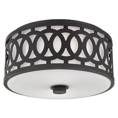 Hudson Valley Lighting Genesee 2 Light Flushmount Light Drum Shade - Old Bronze 4314-OB