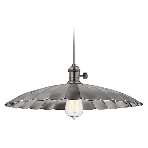 Hudson Valley Lighting Hudson Valley Lighting Heirloom Historic Nickel Pendant Light with Scalloped Shade 8002-HN-ML3