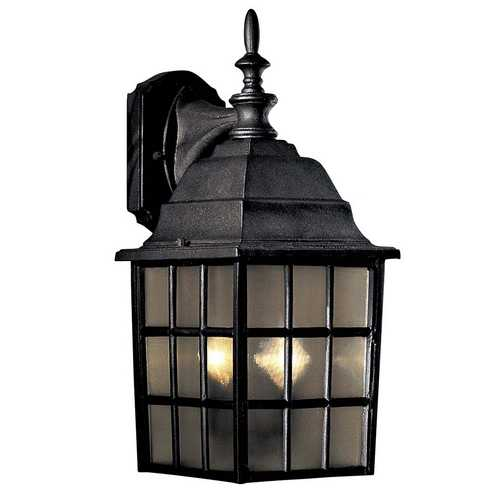 Minka Lavery Outdoor Wall Light with Brown Glass in Black Finish 8718-66