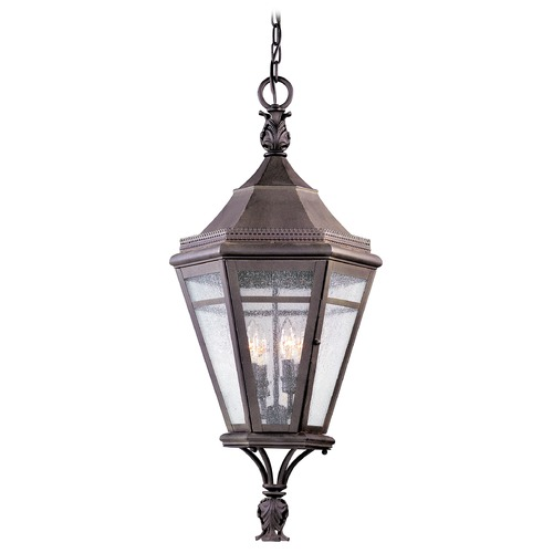Troy Lighting Outdoor Hanging Light with Clear Glass in Natural Rust Finish F1277NR