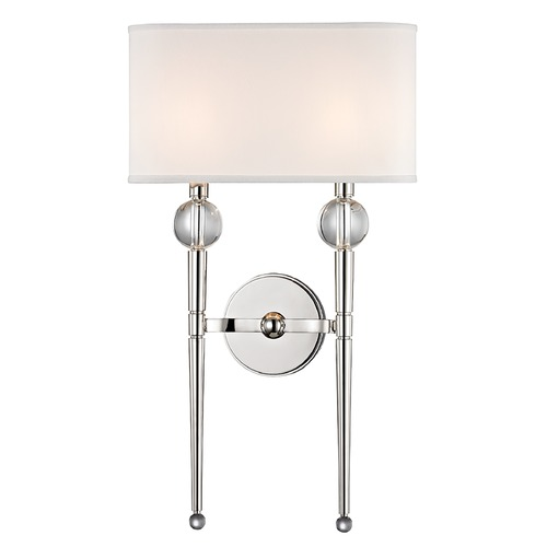 Hudson Valley Lighting Modern Sconce Wall Light with White Shades in Polished Nickel Finish 8422-PN