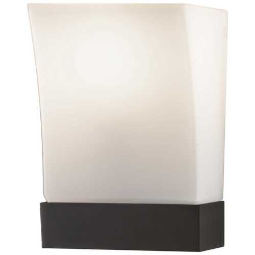 Feiss Lighting Modern Sconce Wall Light with White Glass in Oil Rubbed Bronze Finish WB1482ORB