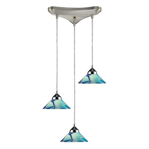 Elk Lighting Modern Multi-Light Pendant Light with Art Glass and 3-Lights 1477/3CAR
