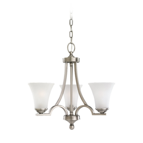 Sea Gull Lighting Mini-Chandelier with White Glass in Antique Brushed Nickel Finish 31375-965
