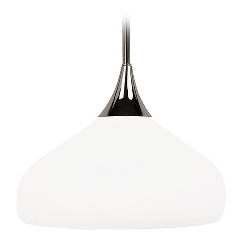 Sea Gull Lighting Modern Pendant Light with White Glass in Polished Nickel Finish 65971-841