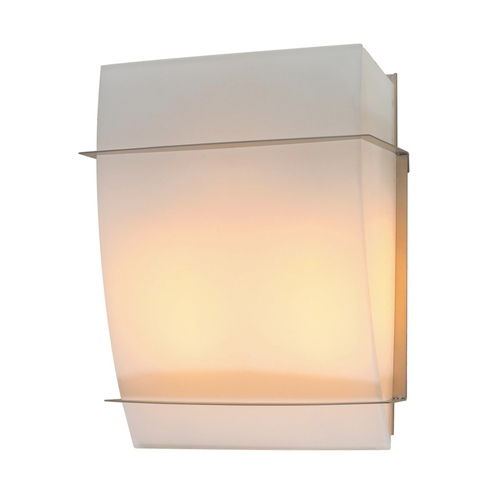 PLC Lighting Modern Sconce Wall Light with White Glass in Satin Nickel Finish 21064 SN
