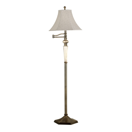 Kenroy Home Lighting Swing Arm Lamp with Beige / Cream Shade in Georgetown Bronze Finish 20617GBRZ