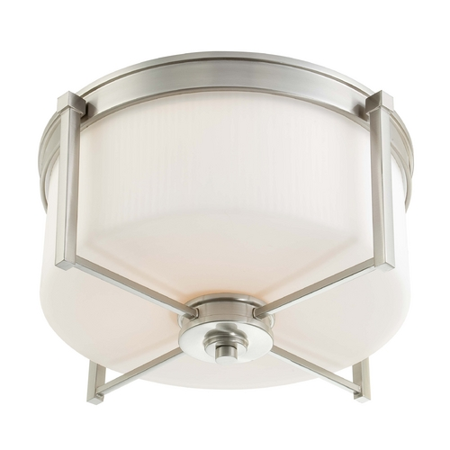 Nuvo Lighting Modern Flushmount Light with White Glass in Brushed Nickel Finish 60/4712