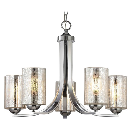 Design Classics Lighting Chrome Chandelier with Mercury Cylinder Glass and 5-Lights 584-26 GL1039C