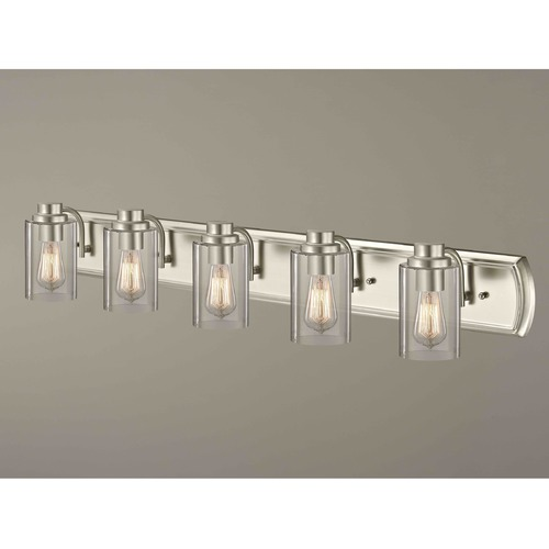 Design Classics Lighting Industrial 5-Light Bathroom Light in Satin Nickel 1205-09 GL1040C