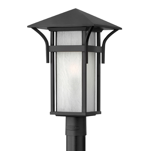 Hinkley Lighting Etched Seeded Glass LED Post Light Black Hinkley Lighting 2571SK-LED