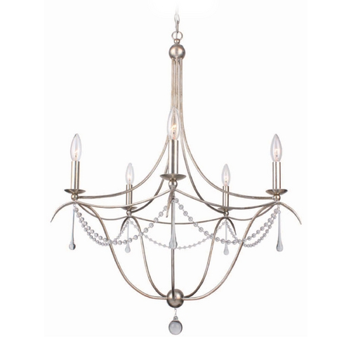 Crystorama Lighting Crystal Chandelier in Antique Sliver Finish 425-SA