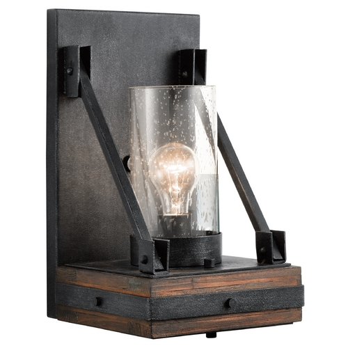 Kichler Lighting Seeded Glass Sconce Bronze Kichler Lighting 43436AUB
