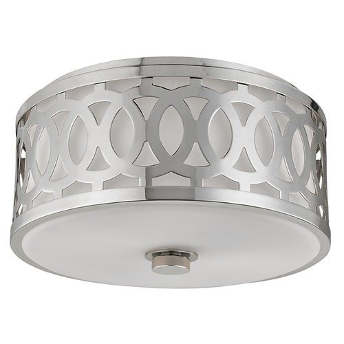 Hudson Valley Lighting Genesee 2 Light Flushmount Light Drum Shade - Polished Nickel 4314-PN