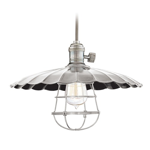 Hudson Valley Lighting Hudson Valley Lighting Heirloom Historic Nickel Pendant Light with Scalloped Shade 8002-HN-ML3-WG