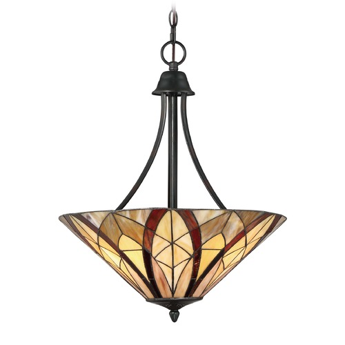 Quoizel Lighting Quoizel Lighting Victory Valiant Bronze Pendant Light with Conical Shade TFVY2819VA