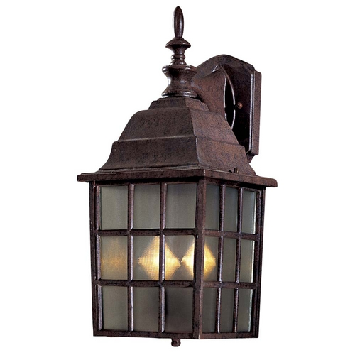 Minka Lavery Outdoor Wall Light with Brown Glass in Antique Bronze Finish 8718-91