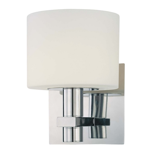 Wall Sconce Chrome Finish : Modern Sconce Wall Light with White Glass in Chrome Finish P5191-077 Destination Lighting