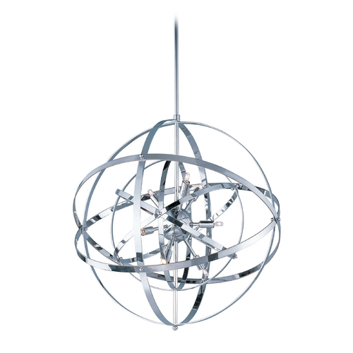 Maxim Lighting Modern Orb Pendant Light in Polished Chrome Finish and Nine Lights 25133PC