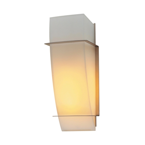 PLC Lighting Modern Sconce Wall Light with White Glass in Satin Nickel Finish 21062 SN