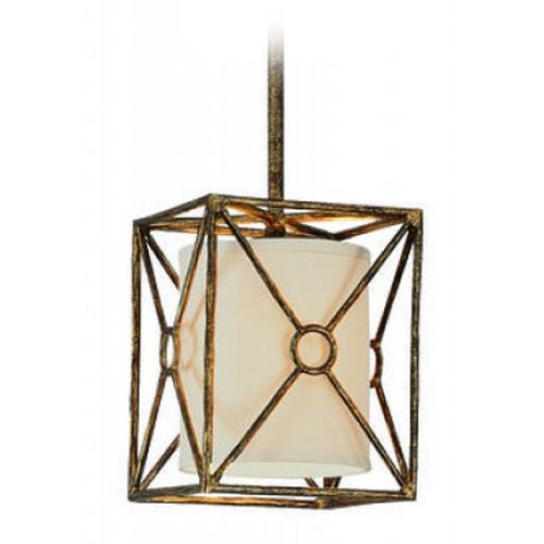 Troy Lighting Mini-Pendant Light with Beige / Cream Shade FF3017BLF