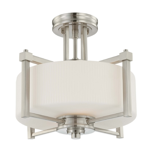 Nuvo Lighting Modern Semi-Flushmount Light with White Glass in Brushed Nickel Finish 60/4713