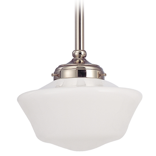 Design Classics Lighting 10-Inch Polished Nickel Schoolhouse Mini-Pendant Light FA4-15 / GA10