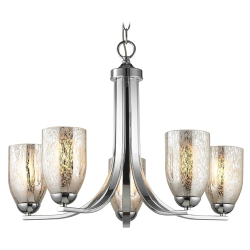 Design Classics Lighting Chrome Chandelier with Mercury Dome Glass and 5-Lights 584-26 GL1039D