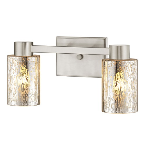 Design Classics Lighting 2-Light Mercury Glass Bathroom Light Satin Nickel 2102-09 GL1039C
