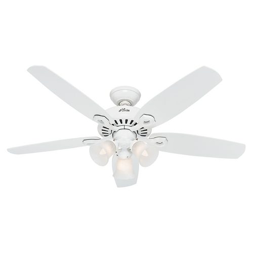 Hunter Fan Company Hunter Fan Company Builder Plus Snow White Ceiling Fan with Light 53236