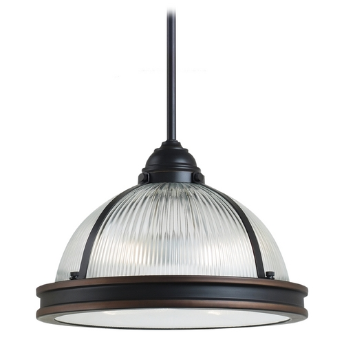 Sea Gull Lighting Farmhouse Prismatic Glass Pendant Light Bronze Pratt Street by Sea Gull Lighting 65061-715