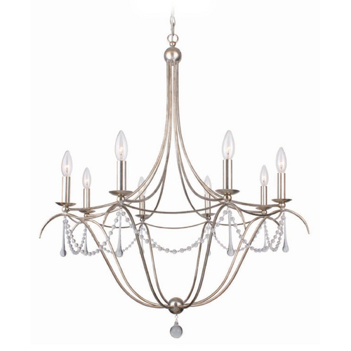 Crystorama Lighting Crystal Chandelier in Antique Sliver Finish 428-SA