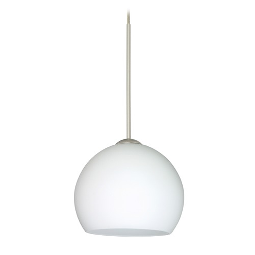 Besa Lighting Besa Lighting Palla Satin Nickel Mini-Pendant Light with Bowl / Dome Shade 1XT-565807-SN