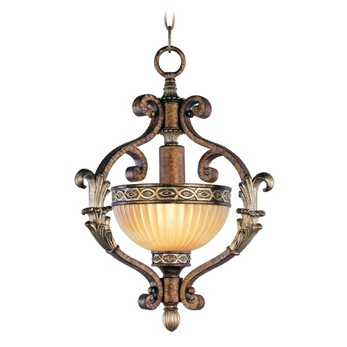 Livex Lighting Livex Lighting Seville Palacial Bronze with Gilded Accents Pendant Light with Bowl / Dome Shade 8530-64
