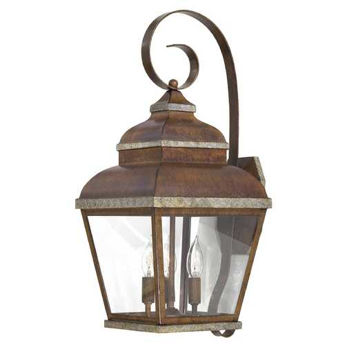 Minka Lavery Outdoor Wall Light with Clear Glass in Mossoro Walnut W/silver Highlights Finish 8263-161