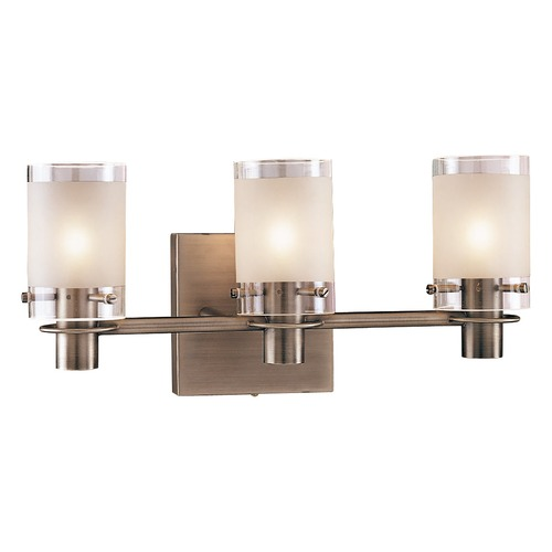 George Kovacs Lighting Modern Bathroom Light with White Glass in Antique Nickel Finish P5003-056