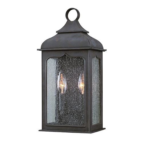 Troy Lighting Outdoor Wall Light with Clear Glass in Colonial Iron Finish B2010CI