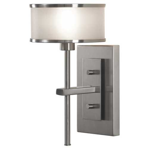 Feiss Lighting Sconce Wall Light with Silver Shade in Brushed Steel Finish WB1378BS