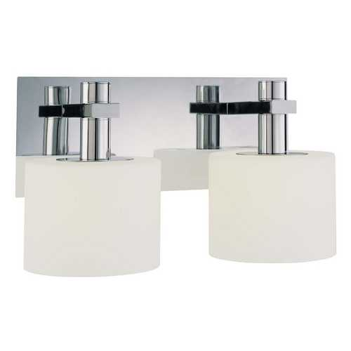 George Kovacs Lighting Modern Bathroom Light with White Glass in Chrome Finish P5192-077