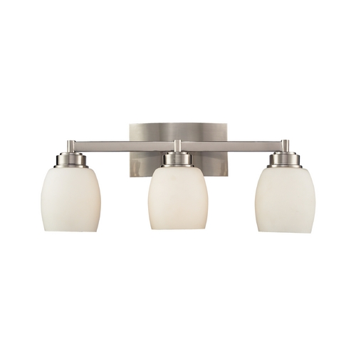 Elk Lighting Modern Bathroom Light with White Glass in Satin Nickel Finish 17102/3