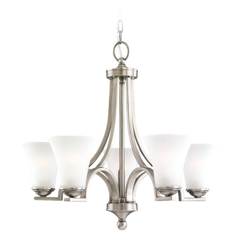Sea Gull Lighting Chandelier with White Glass in Antique Brushed Nickel Finish 31376-965