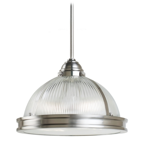 Sea Gull Lighting Pendant Light with Clear Glass in Brushed Nickel Finish 65061-962