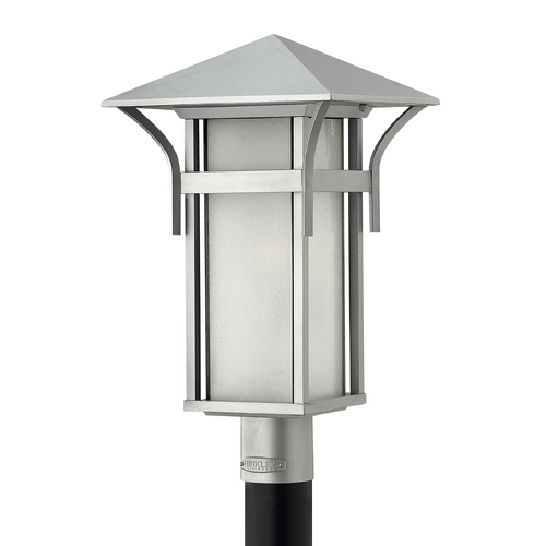 Hinkley Lighting Etched Seeded Glass LED Post Light Titanium Hinkley Lighting 2571TT-LED