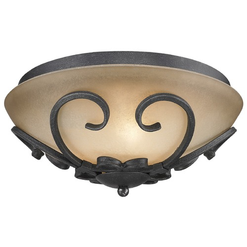 Golden Lighting Golden Lighting Madera Black Iron Flushmount Light 1821-FM BI