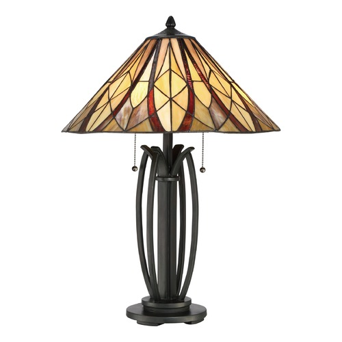 Quoizel Lighting Quoizel Lighting Victory Valiant Bronze Table Lamp with Conical Shade TFVY6325VA