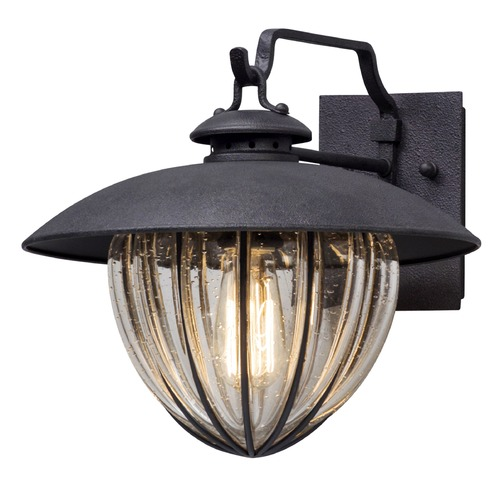 Troy Lighting Seeded Glass Outdoor Wall Light Vintage Iron Troy Lighting B5041